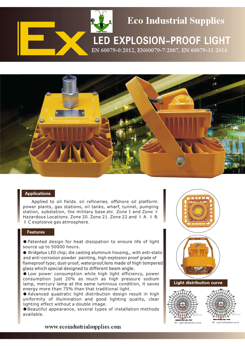 A strong and robust explosion proof light with Atex certification. availble from Eco Industrial Supplies