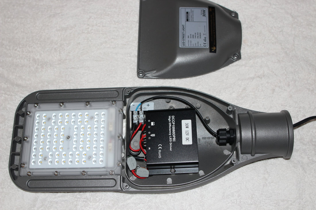 KMini Street Light 12/24 volt imput for use with solar panels and battery systems
